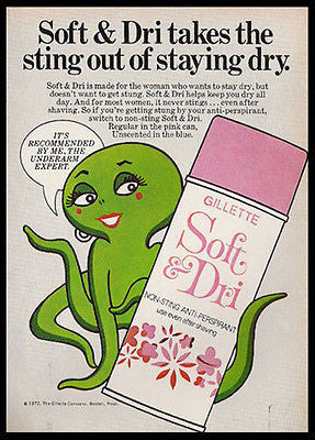 Lady OCTOPUS Gilette Soft & Dri Expert 1972 AD