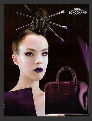 Longchamp Paris AD French Text Paint Brush Hair AD 2001 Humorous Advertising