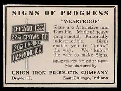 Metal Antique Street Signs 1919 Union Iron Products Company Antique Small AD