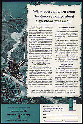 Deep Sea Helmet Diver 1956 Art Graphics AD Met Life Insurance - Paperink Graphics