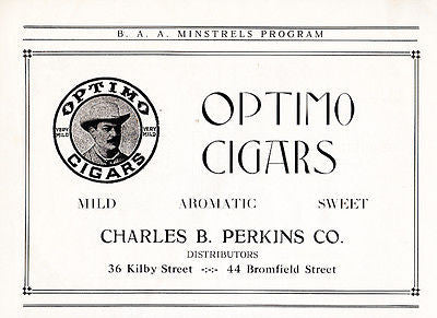 Optimo Cigars AD pre-1920 Advertisement Charles B. Perkins Co. Boston Tobacco AD - Paperink Graphics