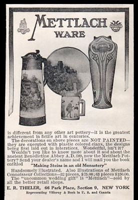 Mettlach Art Pottery 1910 Antique Arts Crafts Decorating AD