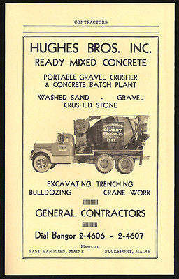 Cement Truck Ad 1959 Hughes Bros Maine Ready Mixed Concrete Photo Ad - Paperink Graphics