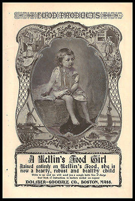 Beautiful Victorian Little Girl 1897 Illustration Ad Mellin Food Girl - Paperink Graphics