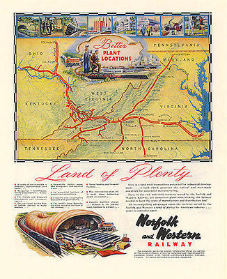 Norfolk Western Railway 1948 Map Illustration AD Industrial Development