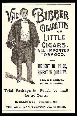 Cigarettes Little Cigars Van Bibber Gentlman Opera Dressed 1896 Small Print Ad - Paperink Graphics