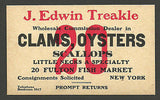Fulton Fish Market NY Advertising Card Clams Oysters J. Edwin Treakle Typography - Paperink Graphics