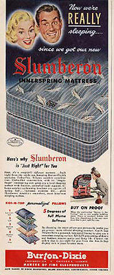 Burton Dixie Slumberon Magic Finger Mattress 1950 AD - Paperink Graphics
