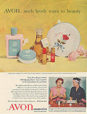 AVON Cosmetics Ad Rep Houseman Richmond VA 1955 Photo AD