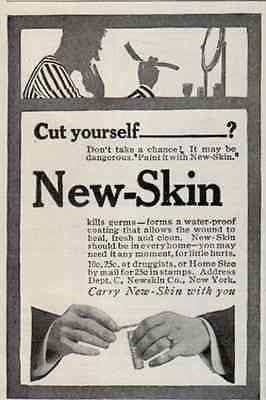 1914 Shaving AD Mens Health New-Skin Water Proof Coating Protect From Germs