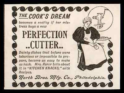Meat Grinder Perfection Cutter 1897 AD North Bros. Manufacturing Philadelphia