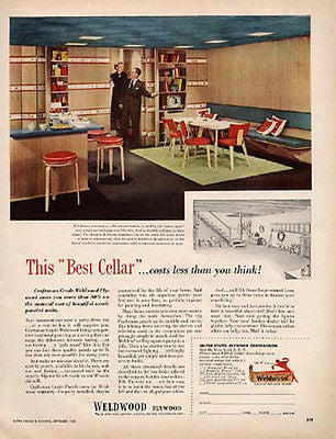 Mid Century MODERN Dream Basement Playroom 1950 Photo AD Weldwood Plywood Corp
