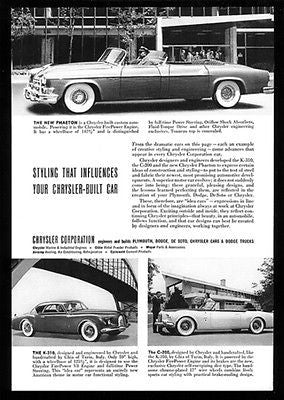 Chrysler Idea Cars K-310 Sedan C-200 Phaeton Convertibles 1952 Photo Ad - Paperink Graphics