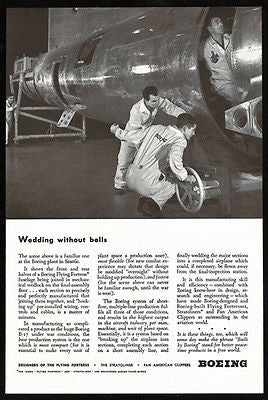 Boeing Flying Fortress Final Assembly Seattle Plant Aviation 1943  Photo Ad