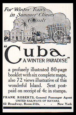 Cuba 1911 AD Winter Paradise Tour Ship Railroad Travel Illustrated AD - Paperink Graphics