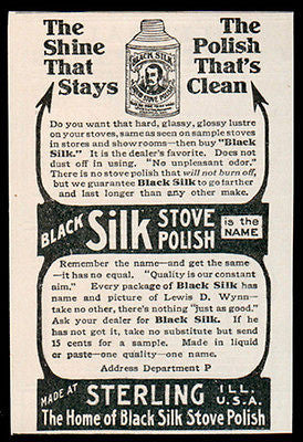 Stove Polish AD 1907 Black Silk Stove Polish Clean Shine Kitchen Appliance