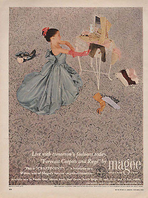 Princess Plays Dress Up TOY VANITY 1950 Photo AD Magee Carpets and Rugs - Paperink Graphics