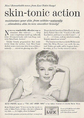 Betsy Palmer Movie Star Lux Soap Vintage 1959 Beauty Photo Illustration Ad - Paperink Graphics