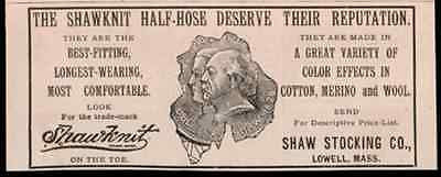 ShawKnit Half Hose Shaw Stocking Lowell MA 1893 AD