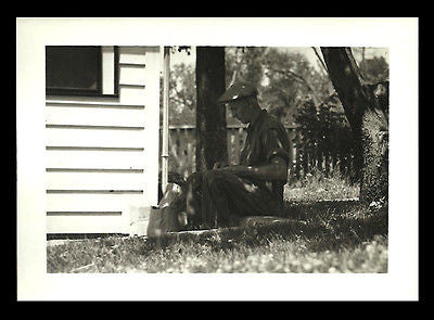 Sun Dappled Man Photograph Shells Nuts Under a Tree Flat B/W 7x5 Heavy Paper