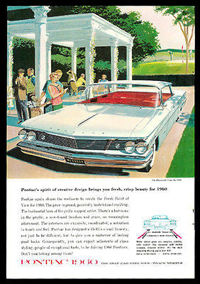 Pontiac 1960 White Bonneville Vista Red Interior Design Ad - Paperink Graphics