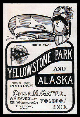 Alaska Yellowstone AD 1901 Indian Totem Mask Illustrated Antique Travel AD - Paperink Graphics