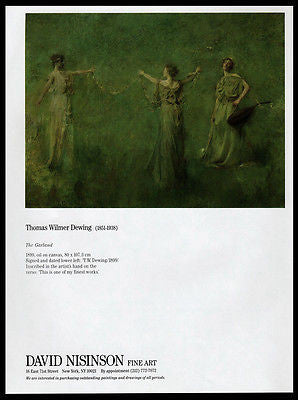 Garland Dancers Gallery Art AD 1988 Thomas W Dewing Artist Artwork Advertising