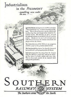 1926 Industrialism in Piedmont South Railway System AD - Paperink Graphics