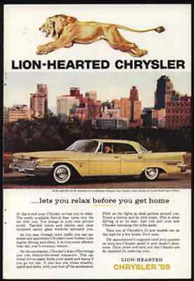 Roaring Golden Lion Lion-Hearted 1959 Chrysler New Yorker 4 door Hardtop AD - Paperink Graphics