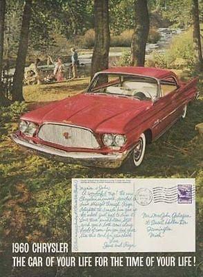 Red Chrysler Chrome Nose Fins Wide White Walls 1960 AD Trout Fishing - Paperink Graphics