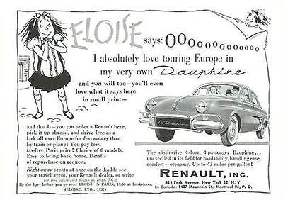 ELOISE Europe Tour Dauphine Renault 1957 Car Ad
