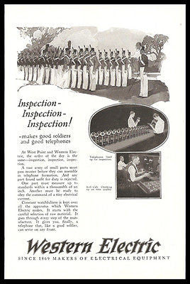 Candlestick Telephones 1925 Photo Ad Inspection Like West Point Cadets - Paperink Graphics
