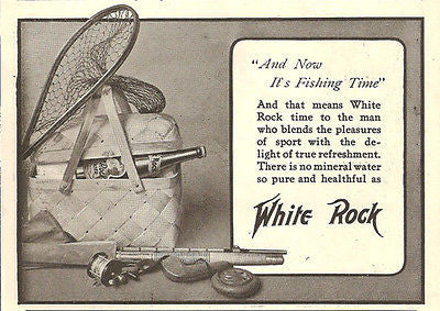 Fishing Bamboo Pole Reel Net Basket Tackle White Rock Mineral Water 1905 AD