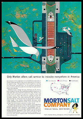 Aerial View Rock Salt Boatload 1960 Charter Print Ad Morton Salt - Paperink Graphics