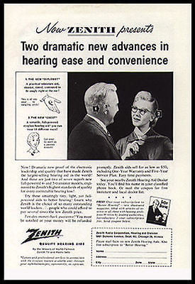Zenith Hearing Aid 1960 Medical Device AD