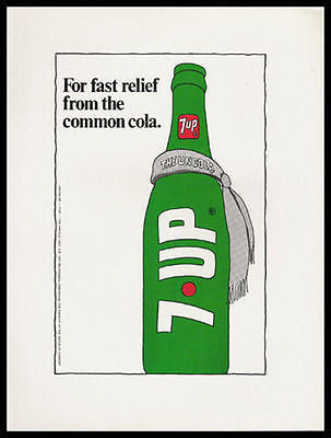 7-UP fast relief from the common cola 1973 Photo Ad - Paperink Graphics