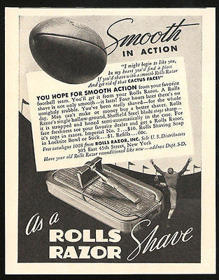 Rolls Razor Ad 1937 Shave Action Football in Flight Stadium Uniform