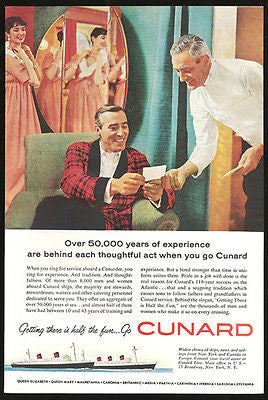 Cunard Line Europe from NY Canada Ocean Liner Cabin Interior 1959 AD - Paperink Graphics
