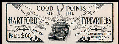 Hartford Typewriters Good Points Speedy Durable 1902 Writing Machine Small AD