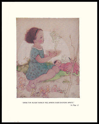 Doll Print Dancing Sprite Fairies Doll 1930 Nursery Art Mabel Lucie Attwell - Paperink Graphics