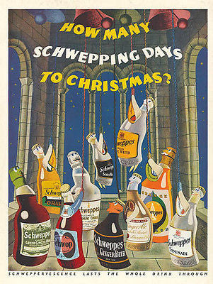 Animated Bell Ringing Schweppes Bottles 1953 Artist Graphic Arts Distillery AD