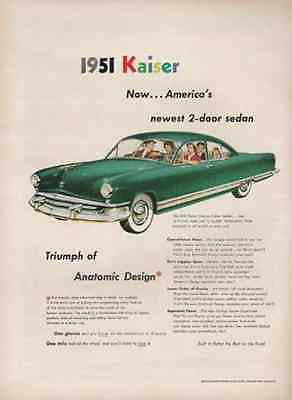 1951 Kaiser Deluxe 2 Dr Sedan 1950 AD Anatomic Design Kaiser-Frazer Auto Car - Paperink Graphics