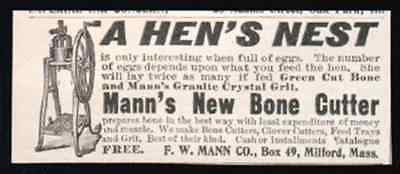 1898 AD Hen Feed Manns Bone Cutter More EGGS Small Antique Farming Print AD - Paperink Graphics