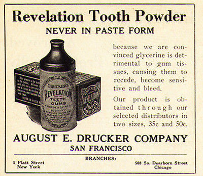 Revelation Tooth Powder 1929 Bottle Box Drucker Dental AD