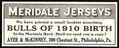 Bulls 1910 Birth AD Meridale Jerseys Herd Livestock Animal Ayer & McKinney AD - Paperink Graphics