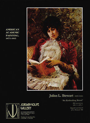 Woman Reads Book Gallery Art AD 1981 Julius Stewart Artist Artwork Advertising