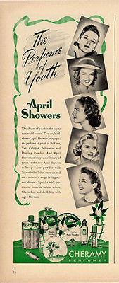 April Showers Perfume Talc Cologne Dusting Powder Cheramy 1941 Photo Print Ad
