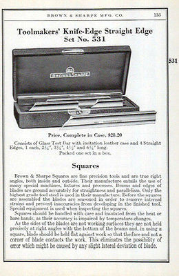 Toolmakers Squares Knife-Edge Straight Edge 1941 Brown Sharpe Tools Catalog Ad