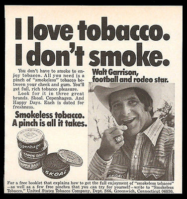 Walt Garrison Ad 1973 Football Rodeo Star Skoal Chewing Tobacco Small Ad