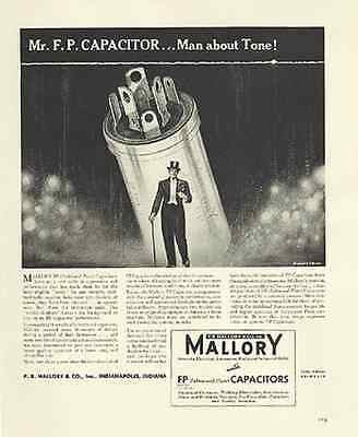 Mallory FP Capacitor Top Hat Man Tone 1939 Print AD - Paperink Graphics